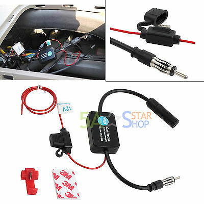 12V Auto Car Antenna Radio Signal Amplifier Booster Strengthen ANT-208 25db AU