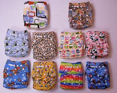 10 x  NEW Reusable Modern Cloth Nappies Diapers Adjustable + 10 inserts