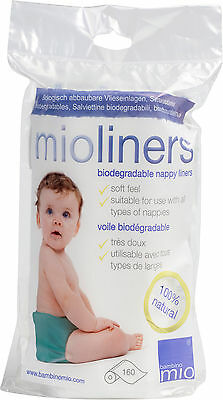 Bambino Mio NAPPY/DIAPER LINERS 160 SHEETS PER ROLL Ecofriendly Baby Changing BN