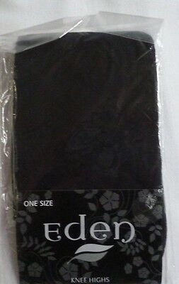 Ladies Black Knee High Stockings with Diamond Pattern One Size NEW