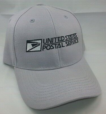 USPS Embroidered Baseball Hat Silver Gray w/Black Embroidery / USPS LOGO 2 Cap