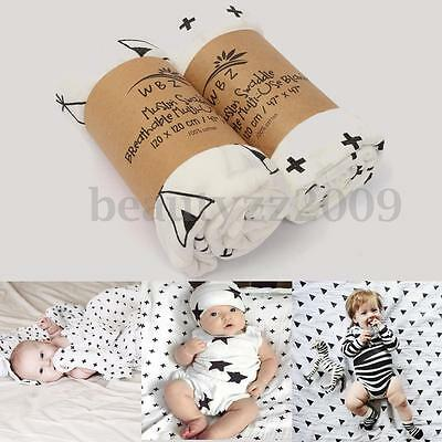 Soft Muslin Swaddling Baby Blanket Newborn Infant Cotton Swaddle Towel 120x120CM