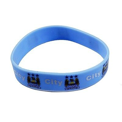 Manchester City Rubber Crest Single Wristband - Blue Silicone Football Club