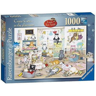Ravensburger Crazy Cats - In The Playroom, 1000pc Jigsaw Puzzle - - Playroom,