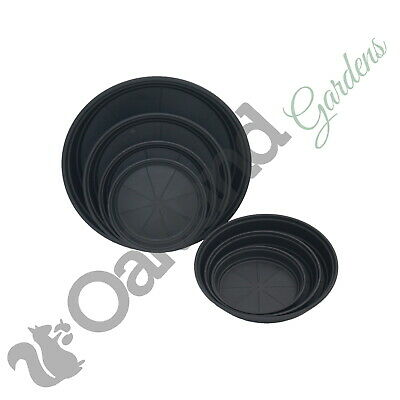 Plant Pot Saucer Black High Deep Drip Watering Tray Base For 1 To 30 Litre
