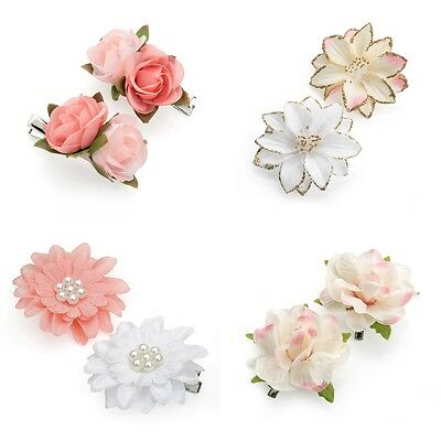 Pair of Small Flower Motif Hair Beak Clips Grips Slides Clips Rose / Pearl / AB