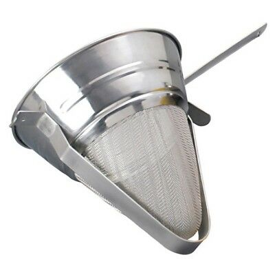 Chefs Stainless Steel Chinois Bullion Strainer Fine Mesh Ideal For Sauces Soups