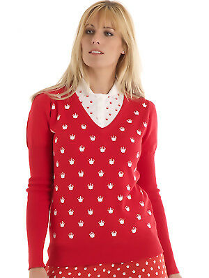 Bunker Mentality Crown Print Cotton Ladies Golf Jumper - Red
