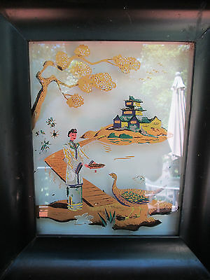 Antique Lighted Metal Framed Glass Picture Asian Woman Feeding Peacock