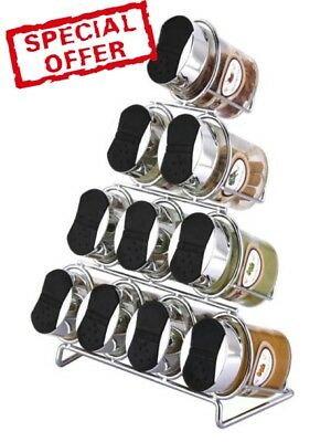 Boxed 11 Piece Spice Rack With 12 Spice Labels Free Standing Spice Rack Chrome