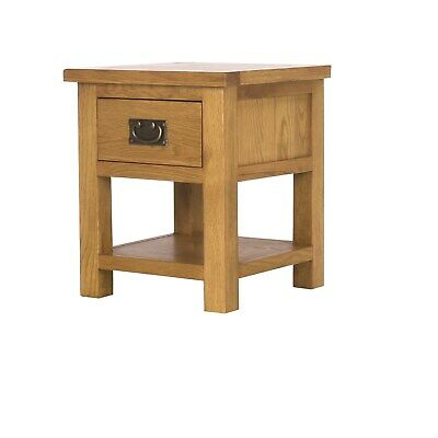 Solid Oak Lamp Table + 1 Drawer + Lower Shelf
