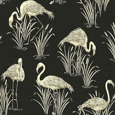 Vintage Lagoon Flamingo Wallpaper - Black - Arthouse 252600 New Luxury