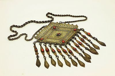 Antique Original Silver Agathe Asian Uzbekistan Amazing Necklase
