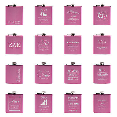 1*Personalized Engraved 6oz Pink Hip Flask Stainless Steel Wedding Gift Favors