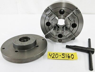 """SAVON 6"""" 4 Jaw Manual Chuck Plain Spindle Mount 1-1/2"""" – 8 Adapter Plate"""