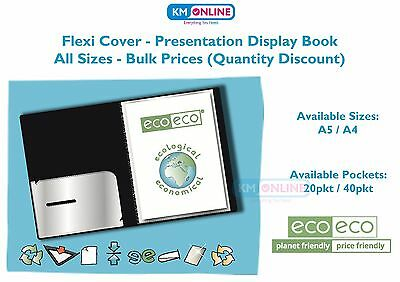 A5/A4 BLACK FLEXI PRESENTATION DISPLAY BOOK FOLDER 20/40 POCKET ecoeco Recycled