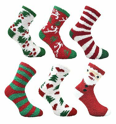 2 Pairs Women Ladies Girls CO-ZEE Xmas Novelty Slipper Soft Fluffy Warm Socks