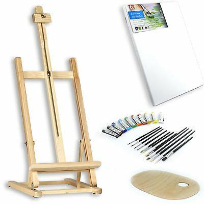 """25 pcs Set 39"""" Easel Acrylic Paints Brushes Wooden Palette Artists & Beginners"""
