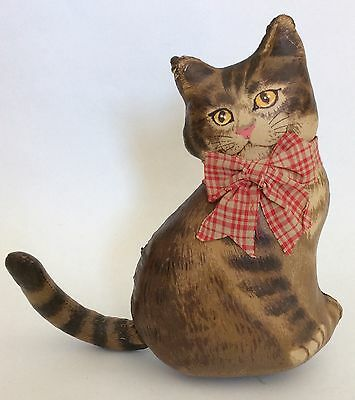 "Handmade 8"" Stuffed Cat Kitten Pillow ~ Home Decor Old-Fashioned Vintage-look"