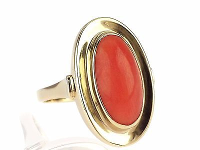 Art Deco 333 Gelb Gold Sizilianische Lachs Koralle Coral Damen Ring !
