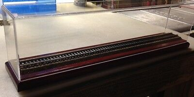 """20"""" O Gauge Train Display Case - Choice Of Stain Includes 2 Or 3 Rail Track"""