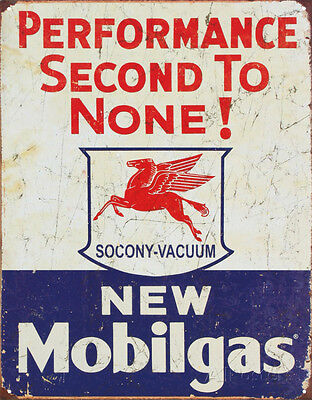 Mobil Gas Gasoline Performance Second to None Tin Sign - 12.5x16