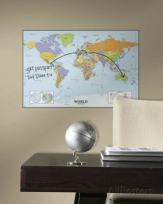 World Map Dry Erase Peel and Stick Giant Wall Decal Sticker - 27x40