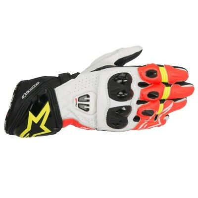 2017 Alpinestars Mens GP Pro-R2 Leather Race Gloves - White / Red / Yellow Track