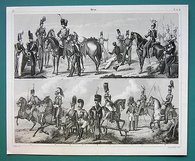 ARMY Belgian & British Cavalry Artillery Engineers -1844 Antique Print Engraving