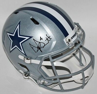 Cowboys Dak Prescott Authentic Signed Full Size Speed Rep Helmet JSA Witness