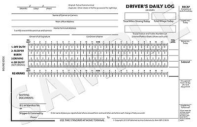 250 Custom Carbonless Driver's Daily Log Report Form Truck / Drive / Delivery