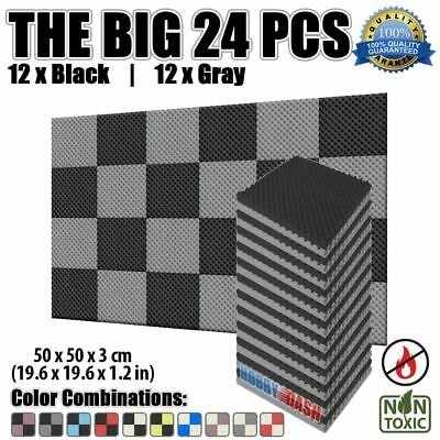 New 24 pcs Gray and Black Set Egg Crate Convoluted Acoustic Foam Panel 50*50*3cm