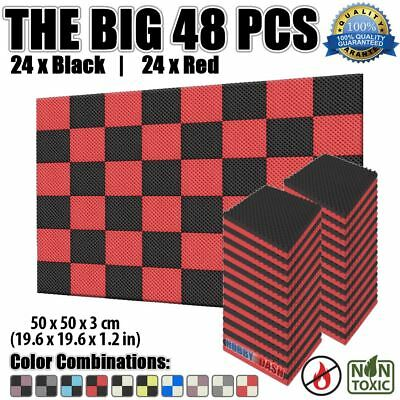 New 48 pcs Set Red and Black 50*50*3cm Egg Crate Convoluted Acoustic Foam