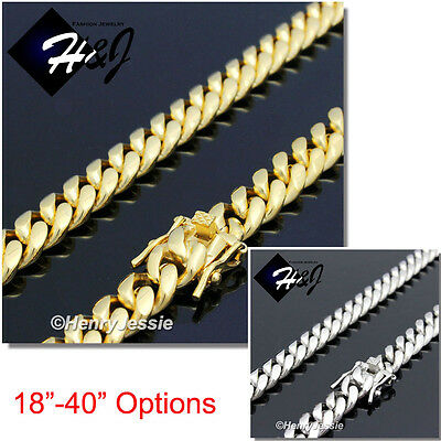 "18-40""MEN Stainless Steel 7x3mm Gold/Silver Miami Cuban Curb Chain Necklace*N154"