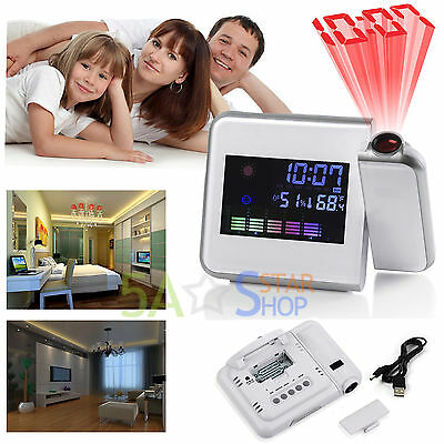 Digital LCD Time Projector Colorful Alarm Clock Temperature Weather Station