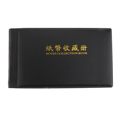Banknote Currency Collection Album Paper Money Pocket Holders 30 Pages Black