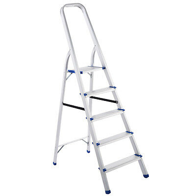 Foldable 5 Step Ladder Non-slip 330 lbs Capacity Platform Aluminum New