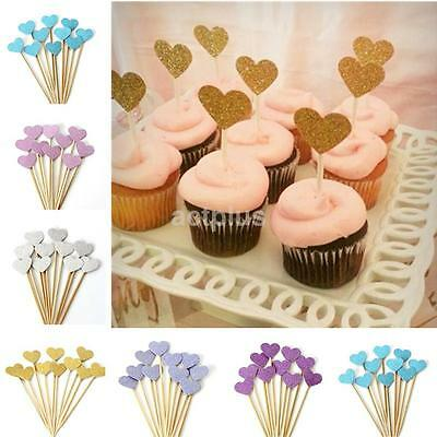 10pcs Birthday Cupcake Toppers Love Heart Party Decor Baby Shower Wedding Cake A