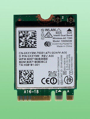 Intel Dual Band Wireless- AC7265 Model 7265NGW  867Mbps Bluetoth4.0 NGFF  0XXY3M