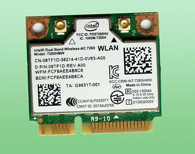 Intel Dual Band Wireless- AC7260 Model 7260HMW  867Mbps Bluetoth4.0   08TF1D