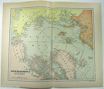 Original 1898 Map of the North Pole by Fisk & Company - Arctic Polar