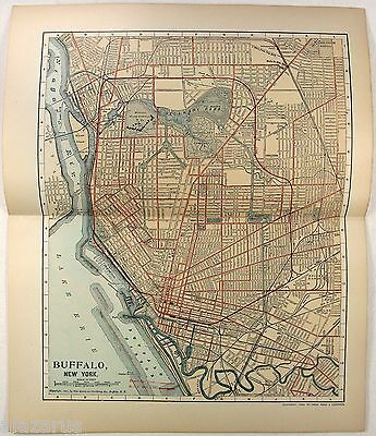 Original 1902 Street & Railroad Map / Plan of Buffalo, NY by Dodd Mead & Company