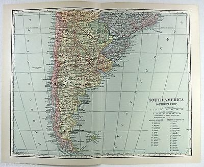 Vintage Original 1914 Map of South America Southern part - Chile, Argentina.....