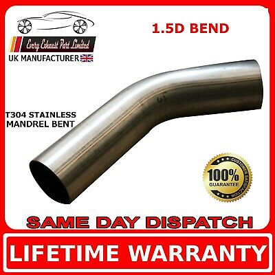"63mm 2.5"" x 45 Degree Mandrel Exhaust Bend T304 Stainless Steel 1.5D 1.5mm Wall"