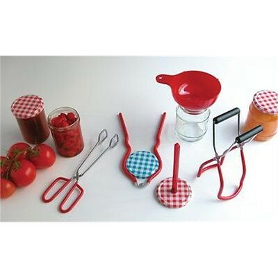 Jam Canning Set With Lid Lifter, Funnel, Jar Lifter, Wrench & Tongs - 5 Piece &