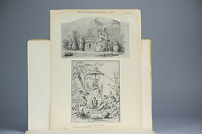 Antique ca1900 Prints Chinese Art PL31-32 Chinoiserie France Guimet China Qing
