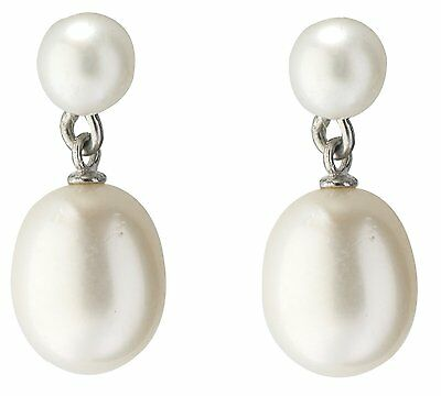 Freshwater White Cultured Pearl Drop Earrings With 925 Sterling Silver Fittings