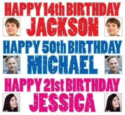 "2 PERSONALISED PHOTO BIRTHDAY BANNERS 36 ""x 11"" - ANY NAME ANY AGE"