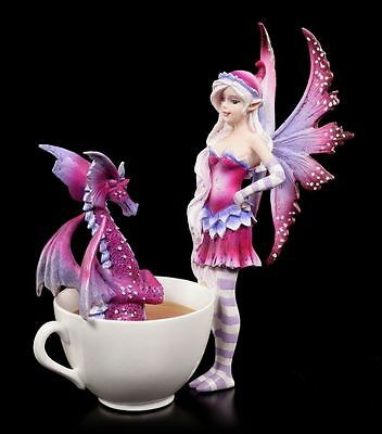 Elfen Figur in Tasse - Cup Fairy with Dragon by Amy Brown - Fee Drache