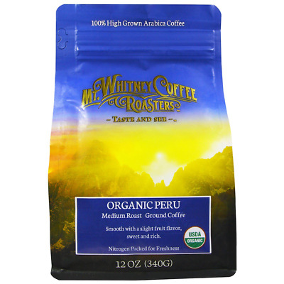 New Mt. Whitney Coffee Roasters Organic Peru Medium Roast Ground Smooth Flavor